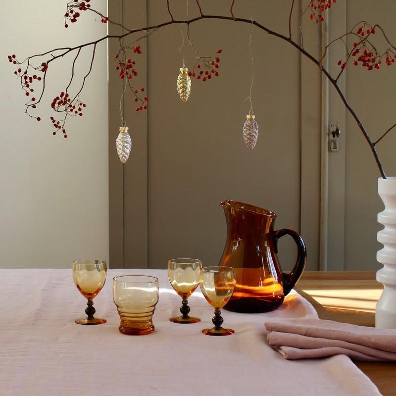 kersttafel aankleden met vintage glas