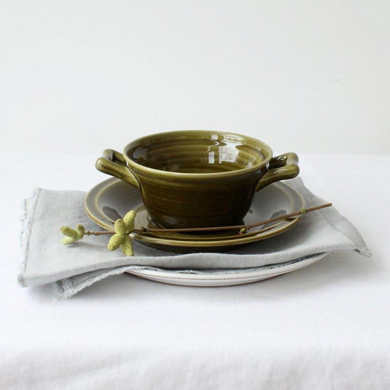 vintage groene soepkom Goedewaagen