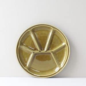 Vintage fonduebord Gien olijfgroen