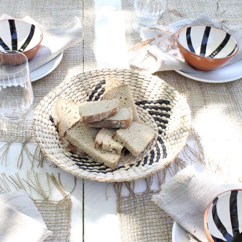 broodmand naturel-zwart palmblad