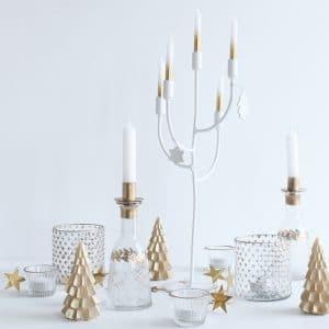 Kandelaren wit en goud voor kerst