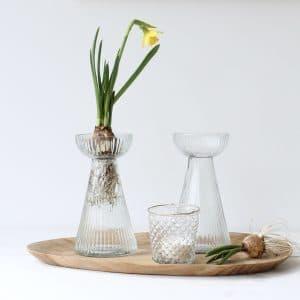 Bollen vaasje van geribbeld glas