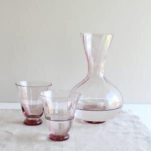 Bungalow karaf en glazen van roze glas