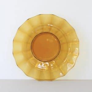 Vintage ronde schaal van geel glas